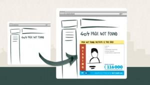 Inzet 404 pagina voor vermiste kinderen