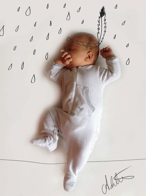 Halfslapende baby
