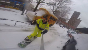 Snowboarden in New York City